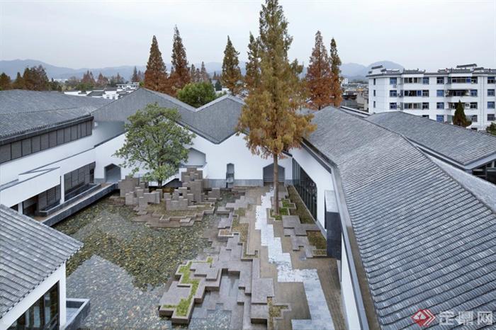 现代中式绩溪博物馆景观-卵石水池种植池台阶景墙地面图片