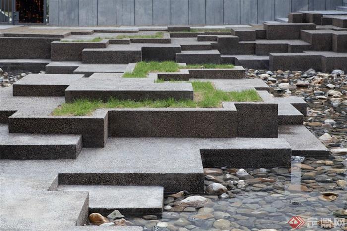 现代中式绩溪博物馆景观-卵石水池台阶种植池矮墙-师图片