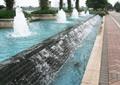 喷泉水景,跌水景观,彩砖铺装,景观水池,树池