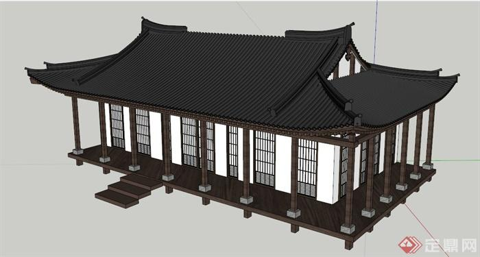 简单的单层居住建筑设计,造型独特,风格突出,模型制作精细,具有一定