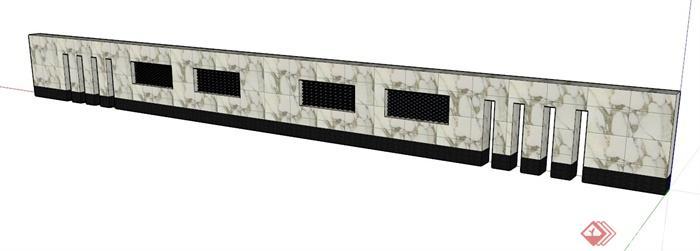 新中式大理石景墙设计su模型