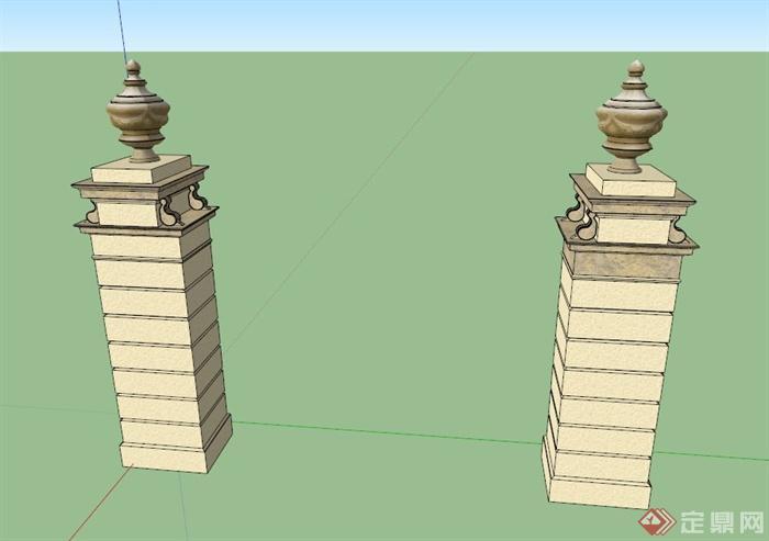 欧式小型景观柱设计su模型