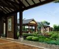 景观廊,长廊,花园景观,木板铺装,景墙,灌木