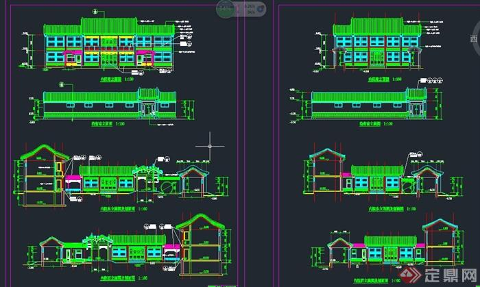 古典中式多层四合院建筑设计CAD施工图