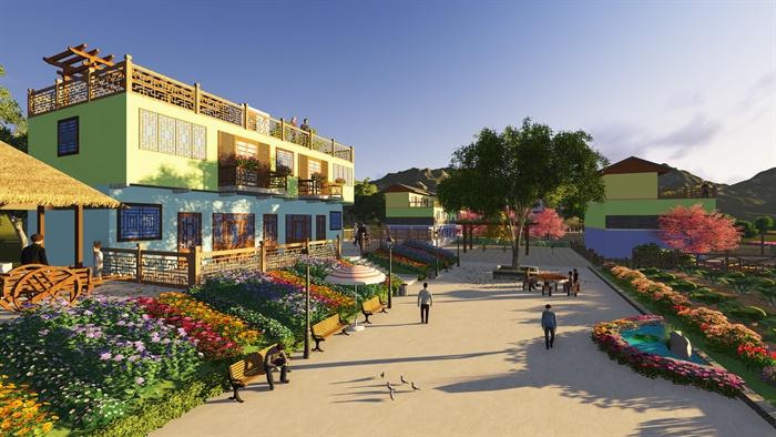 新农村建筑景观立面改造设计su模型