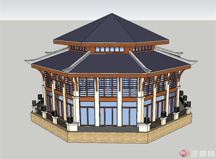欧式风格重檐塔楼建筑设计su模型