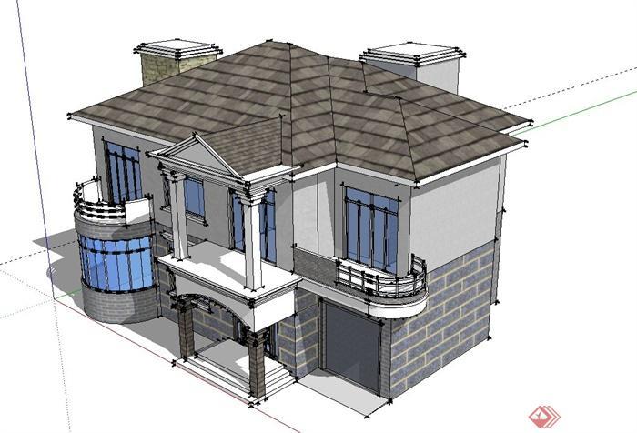 现代某两层坡屋面别墅建筑设计su模型