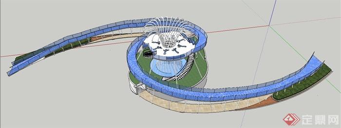 现代模型人行天桥栈桥v模型su风格冈布奥设计图怎么得图片