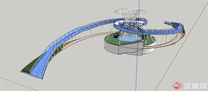 现代铅笔人行天桥模型v铅笔su栈桥包装设计风格图片