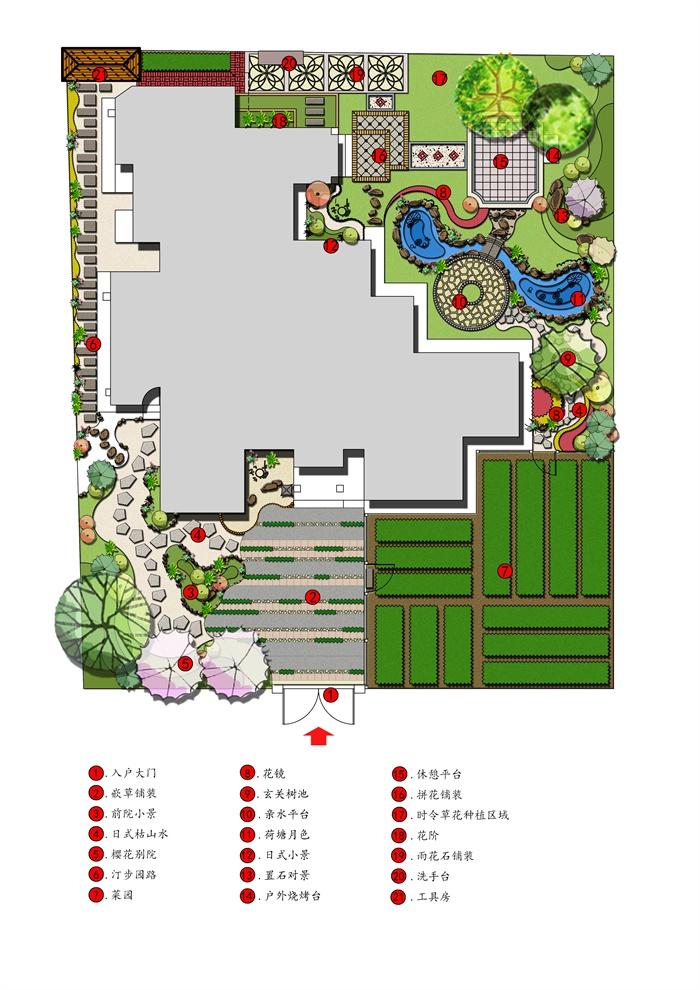 某日式风格庭院花园设计方案