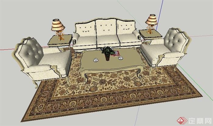 欧式家具沙发茶几组合su模型