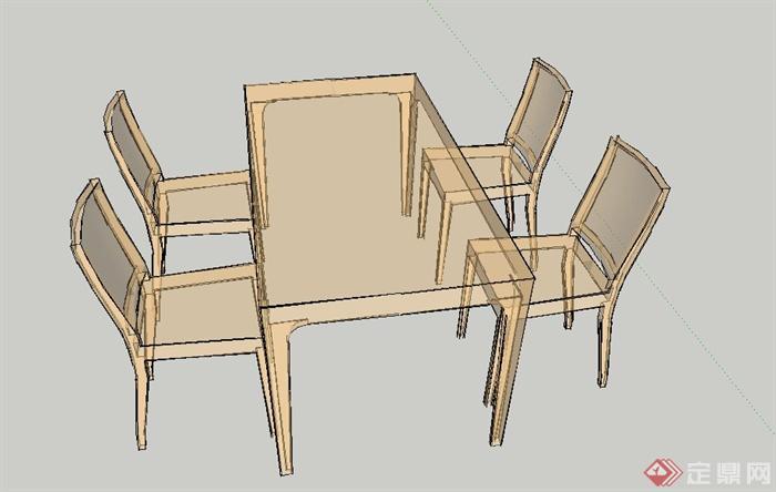 室内木质四人方形餐桌椅设计su模型