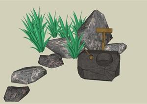 园林景观节点景石小品设计SU(草图大师)模型