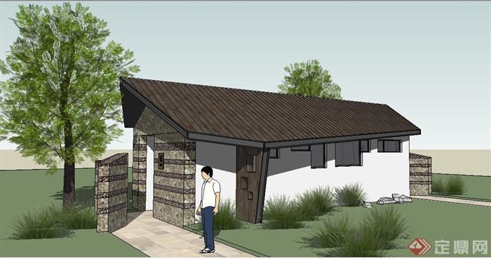 中式风格公共厕所建筑设计su模型[原创]