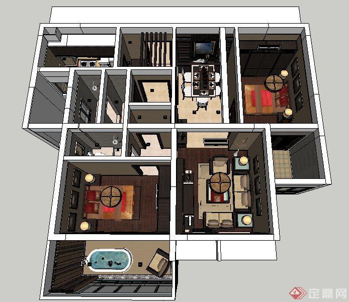 新中式风格住宅室内设计su模型,包括床及床头柜、沙发茶几、电视及电视柜、厨卫设施、餐桌椅、陈设装饰,室内家具陈设细节处理到位,具有一定参考价值。