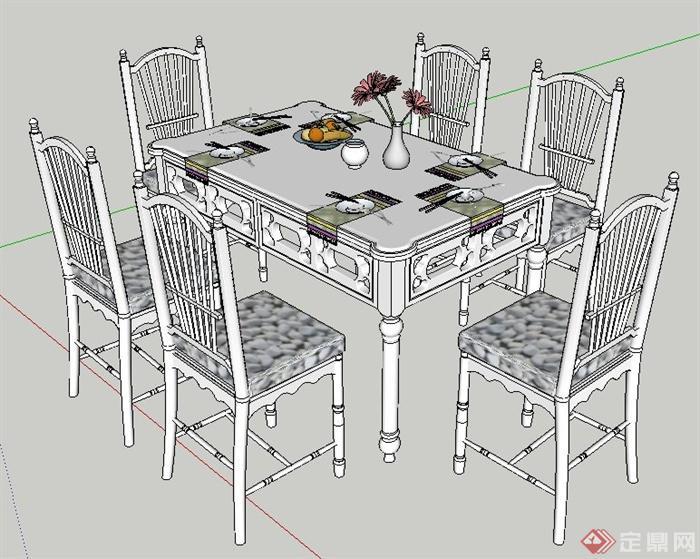 手绘两点透视餐桌