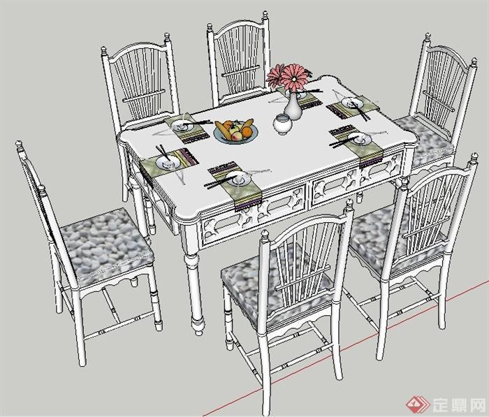简欧田园餐桌椅组合su模型