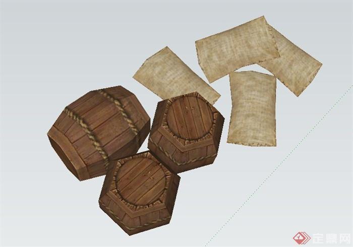 园林景观节点布袋与酒桶小品设计su模型