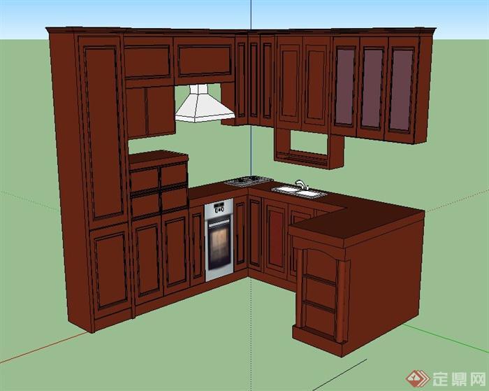 室内木质橱柜设计su模型