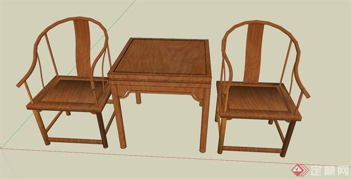 中式木质椅子设计su模型