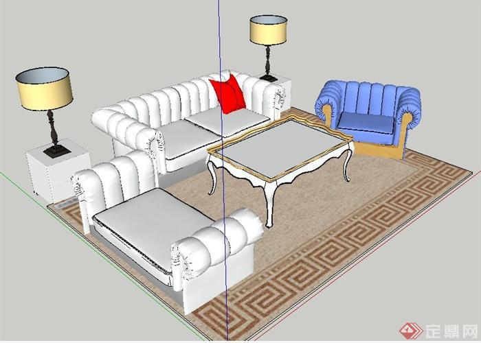 简约欧式沙发茶几组合家具su模型