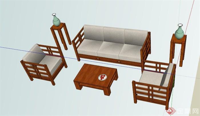 中式木质沙发茶几设计su模型