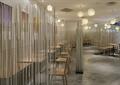 隔断钢珠,餐桌椅,地面铺装,走廊,吊灯,快餐厅