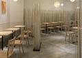 餐桌椅,隔断钢珠,地面铺装,吊灯,快餐厅