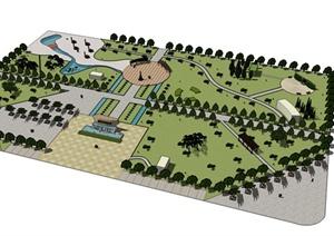 学生作业——某休闲小公园景观设计SU(草图大师)模型