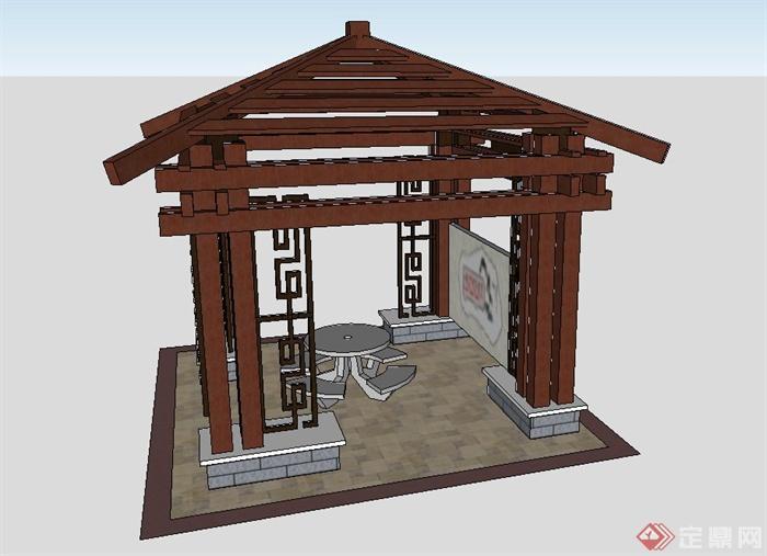 古典中式四角木质景观亭子设计su模型图片