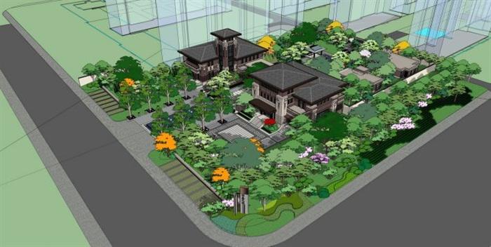 新中式售楼处建筑景观设计su模型