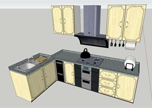 欧式田园风格橱柜设计SU模型