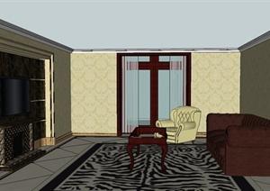 新古典风格客厅室内设计SU(草图大师)模型