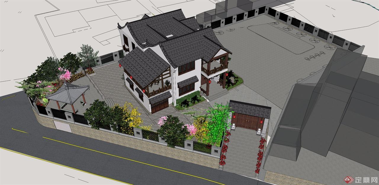 中式别墅建筑 景观图片