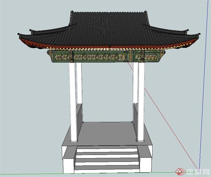 古典中式四角亭子设计su模型图片