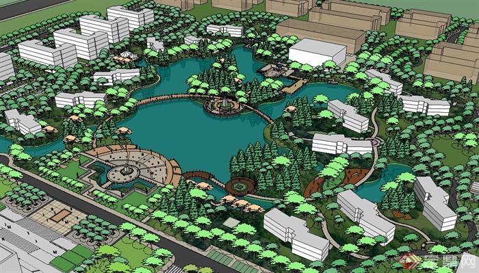 现代某大学校园景观规划设计su模型(3)图片