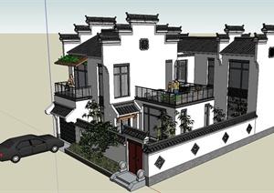 两层新中式?#24352;?#21035;墅建筑设计SU模型