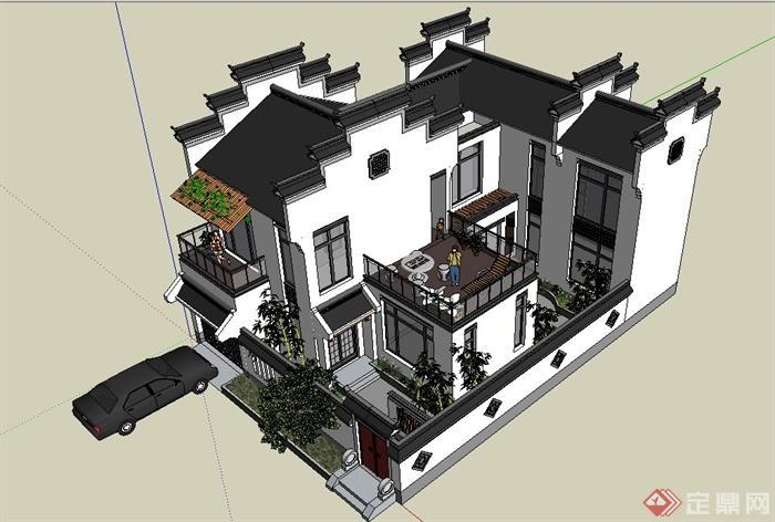 两层新中式徽派别墅建筑设计SU模型(2)