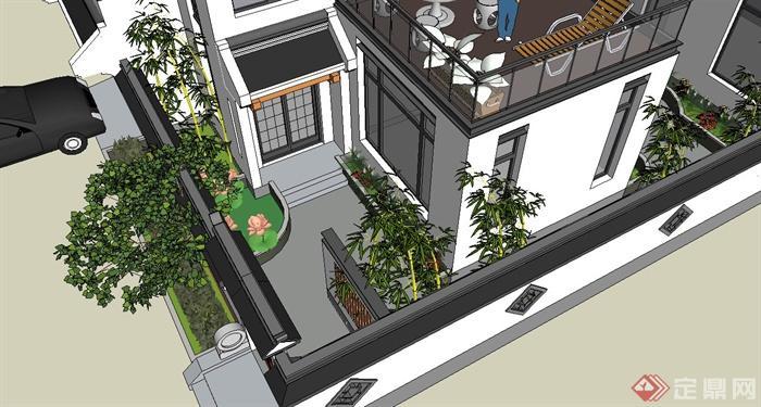 两层新中式徽派别墅建筑设计su模型