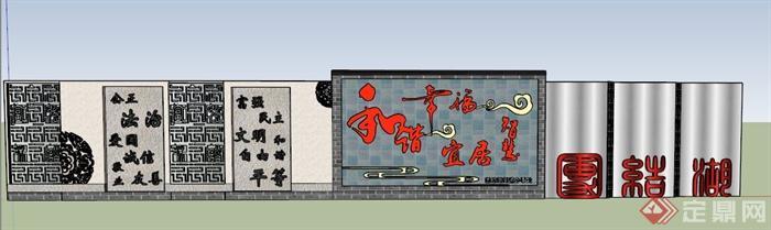 中式风格文化景墙设计su模型(1)