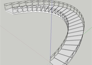 建筑节点环形缓坡楼梯设计SU(草图大师)模型