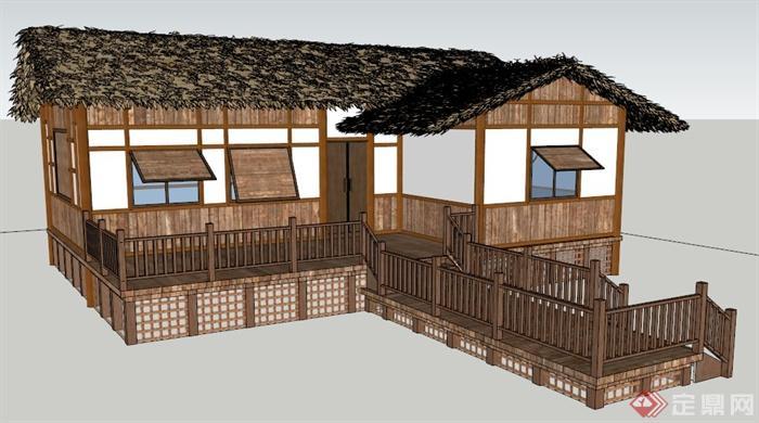 中式风格木板民居建筑设计su模型