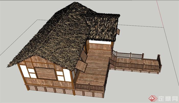 中式风格木板民居建筑设计su模型(3)