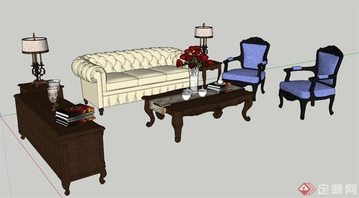 古典欧式风格沙发茶几组合su模型