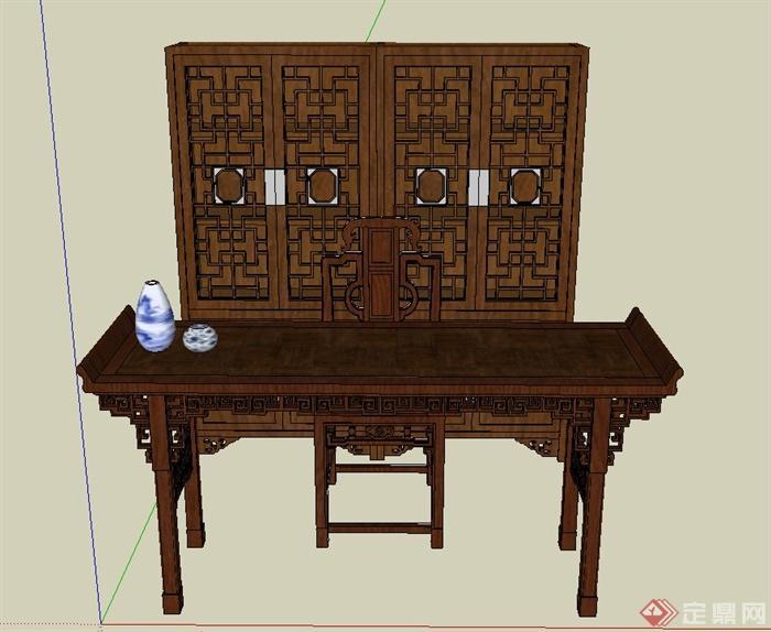 古典中式木质桌子与地柜设计su模型