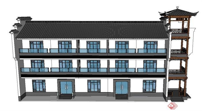 某古典中式三层综合办公楼建筑设计su模型(1)图片