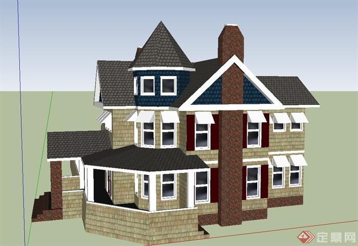 某欧式两层组合坡屋面别墅建筑设计su模型