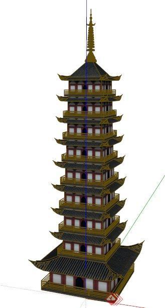 中式风格古塔景观塔设计su模型图片