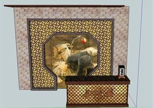 古典中式餐厅收银台与背景墙设计SU(草图大师)模型