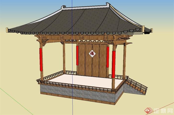 古典中式四角戏台亭子设计su模型图片
